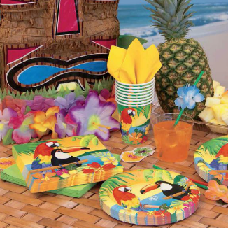 exotic birds on beach plates and napkins