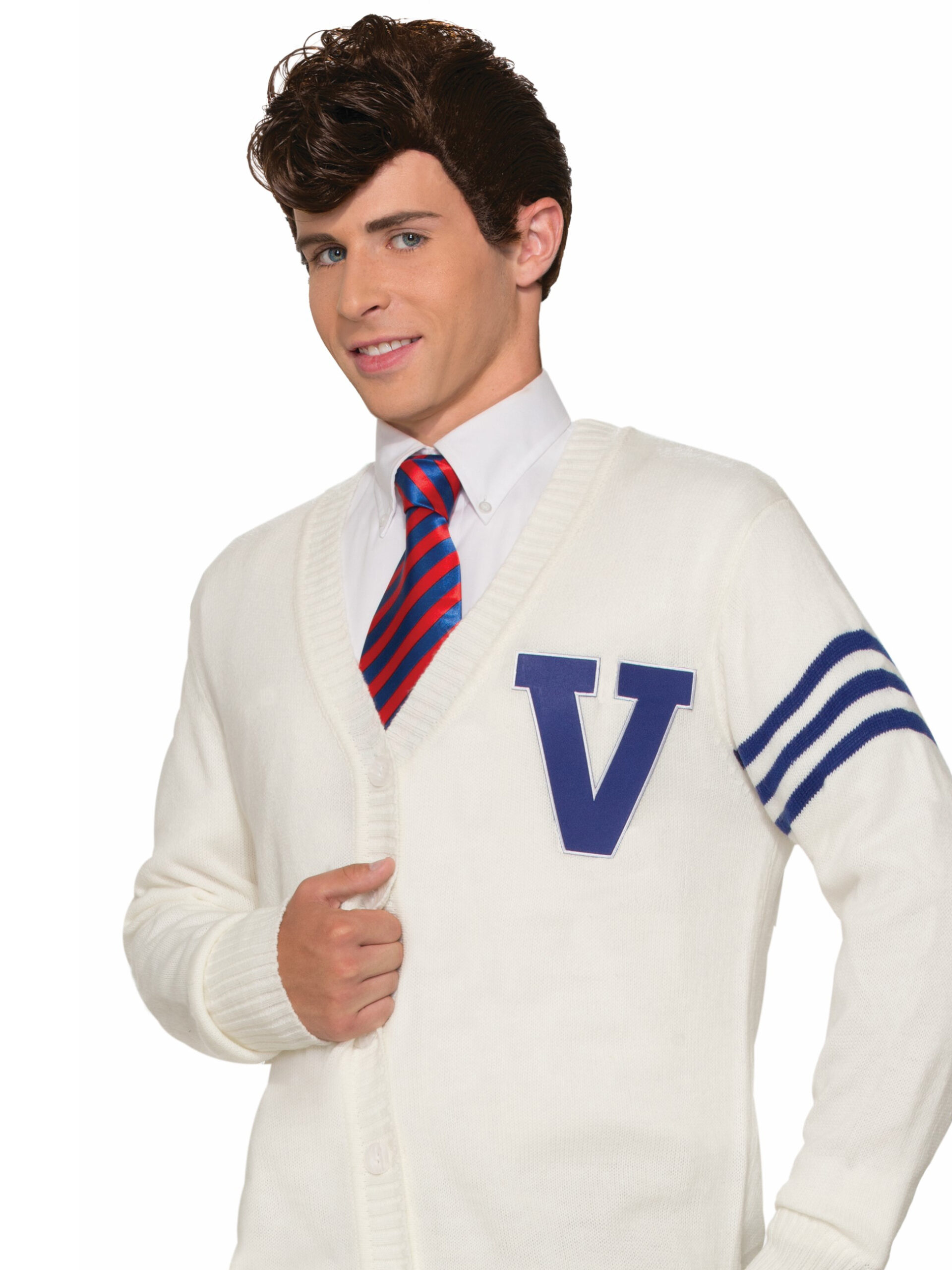 adult male 60s letter sweater and tie costume and wig