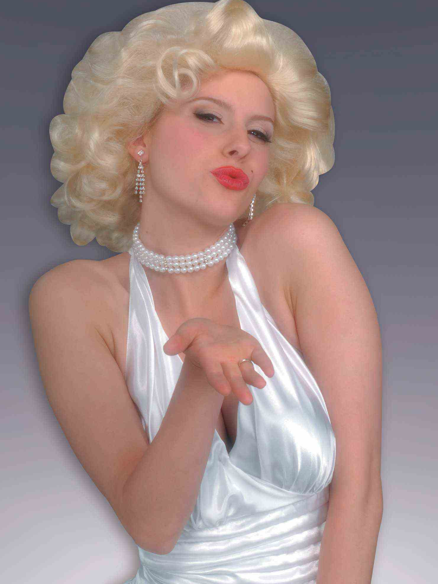 adult lady in marilyn monroe dress and pearls