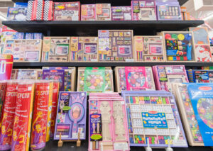 shelves of melissa and doug games and toys