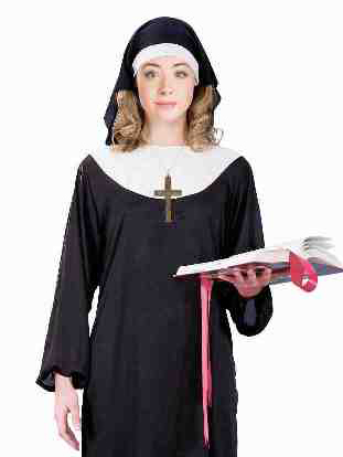 lady in nun costume with rosary and bible
