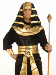 adult male in black and gold pharoah costume with headdress and rod