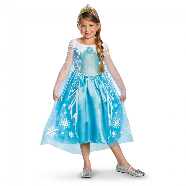 little girl in princess elsa blue frozen ice queen dress