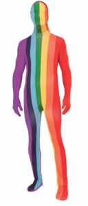adult in rainbow striped body suit