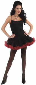 adult female in black saloon dress with red lace costume