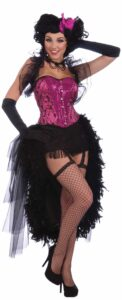 adult female with hot pink boustier black feather half skirt fishnet hose elbow length gloves and wig