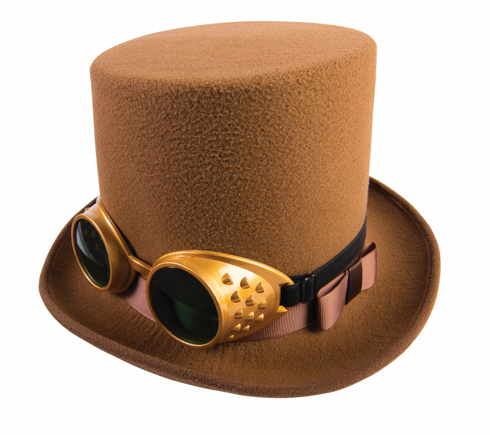 steam punk hat with goggles and ribbon