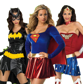 Bat girl Super girl and Wonderwoman ladies in costumes