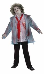 little boy in torn and bloody shirt tie and sport coat with white makeup